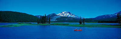 Canoe Photograph - South Sister Canoeing Sparks Lake Or Usa by Panoramic Images