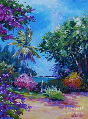 Caribbean Sea Painting - South Sound View With Bougainvillea by John Clark