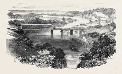 Suspension Drawing - South Wales Railway, The Chepstow Tubular Suspension Bridge by English School