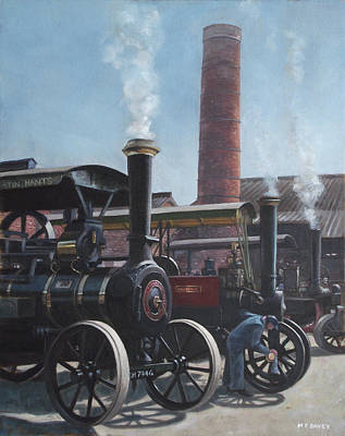 Steam Tractor Painting - Southampton Bursledon Brickworks Open Day by Martin Davey