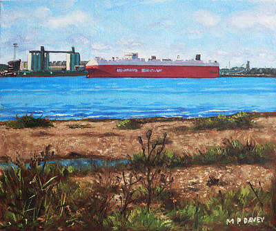 Painting - Southampton Cargo Ship As Seen At Weston Shore by Martin Davey