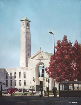 Painting - Southampton Civic Center Public Building by Martin Davey