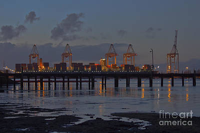 Photograph - Southampton Container Port At Night by Terri Waters