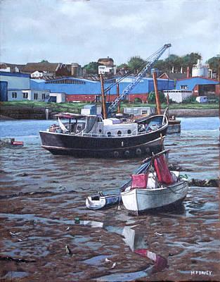 Painting - Southampton Northam Boats by Martin Davey