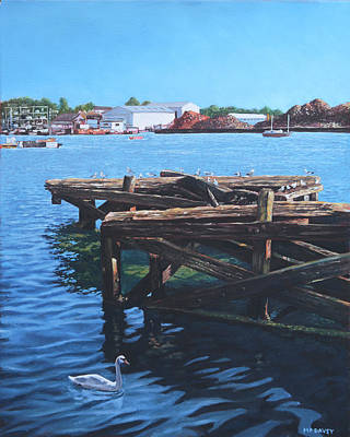 Sea Birds Painting - Southampton Northam River Itchen Old Jetty With Sea Birds by Martin Davey