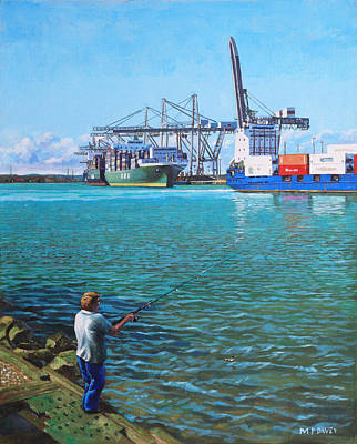 Painting - Southampton Western Docks Container Terminal As Seen From Marchwood by Martin Davey