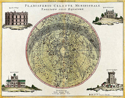 Photograph - Southern Celestial Planisphere 1777 by Wellcome Images
