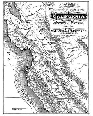 Photograph - Map Of Southern Central California Showing Railroad And Steamboat Routes by California Views Mr Pat Hathaway Archives