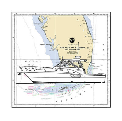 Drawing - Southern Florida Nautical Chart With Quick Yacht by Jack Pumphrey