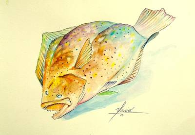 Flyfishing Painting - Southern Flounder  by Yusniel Santos