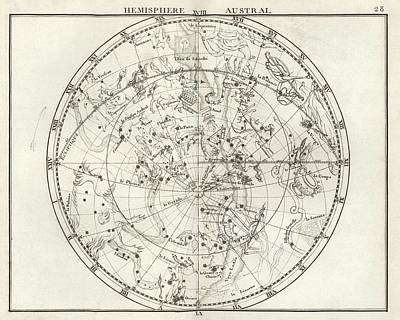 1776 Photograph - Southern Hemisphere Star Chart by Us Navy