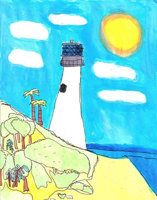 Autism Painting - Southern Lighthouse by Artists With Autism Inc