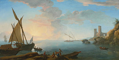 Southern Mediterranean Seascape With Boats And Figures At Sunset Print by Adrien Manglard