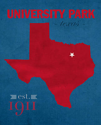 Southern Methodist University Mustangs Dallas Texas College Town State Map Poster Series No 098 Art Print