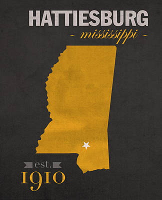 Southern Mississippi Golden Eagles Hattiesburg College Town State Map Poster Series No 099 Art Print