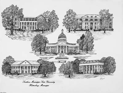 Southern Universities Digital Art - Southern Mississippi State University by Liz  Bryant