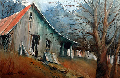 Shed Painting - Southern Ohio Farm Yard by Charles Rowland