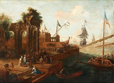 Ports Painting - Southern Port With Figures And Ships by Celestial Images
