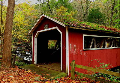 Photograph - Southford Falls Covered Bridge And Waterfall by Stephen Melcher