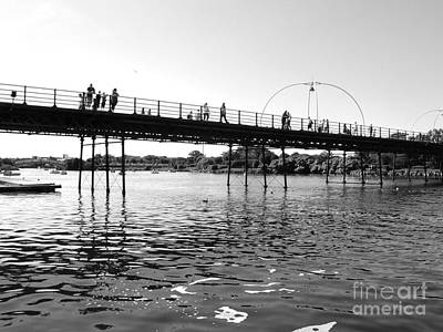 Photograph - Southport Pier Across The Marine Lake Bw by Joan-Violet Stretch