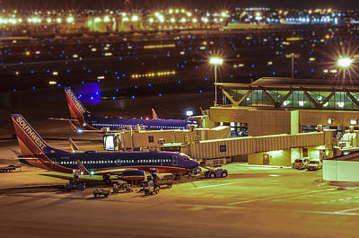 Southwest 737s In For The Night Art Print
