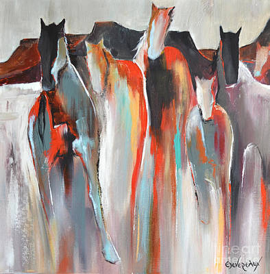 Abstract Horse Painting - Southwest by Cher Devereaux