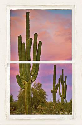 Southwest Desert Colorful Distressed Window Art View Art Print