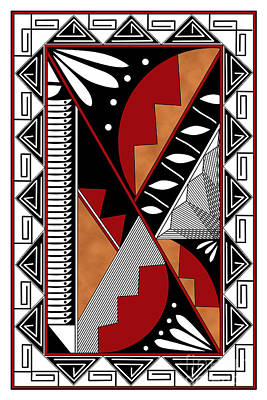 Digital Art - Southwest Collection - Design Seven In Red by Tim Hightower