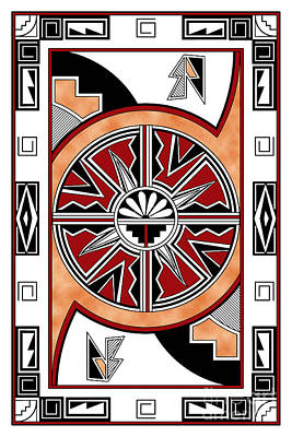 Digital Art - Southwest Collection - Design Six In Red by Tim Hightower