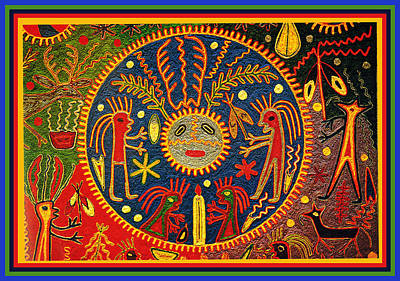 Southwest Huichol Del Sol Art Print by Vagabond Folk Art - Virginia Vivier