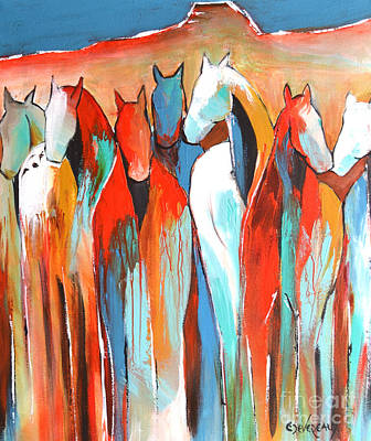 Abstract Horse Painting - Southwest II by Cher Devereaux
