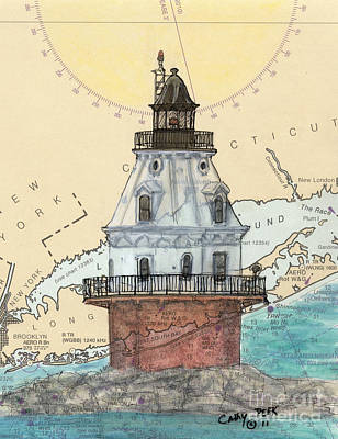 North Haven Island Painting - Southwest Ledge Lighthouse Ct Nautical Chart Map Art by Cathy Peek