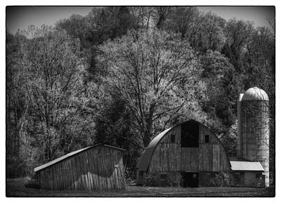 Southwest Wisconsin Barn Black And White Art Print by Thomas Young