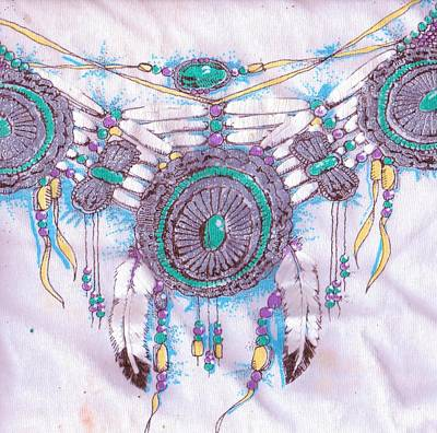 Silver Turquoise Mixed Media - Southwestern Designs View II by Anne-Elizabeth Whiteway