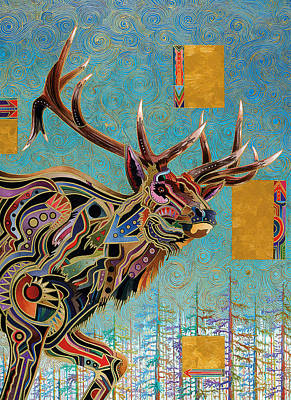 Apache Painting - Southwestern Elk by Bob Coonts