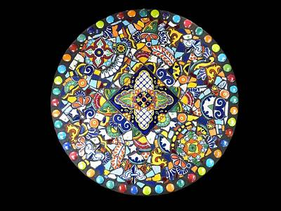 Mosaic Mixed Media - Southwestern Mosaic Lazy Susan Kitchen Decor Made With Talavera Tiles by Katherine Sutcliffe