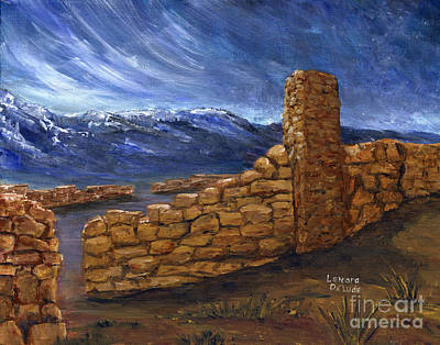 Painting - Southwestern Night Landscape Rock Ruins by Lenora  De Lude