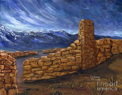 Castle Painting - Southwestern Night Landscape Rock Ruins by Lenora  De Lude