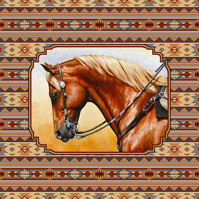 Navajo Painting - Southwestern Quarter Horse Pillow by Crista Forest