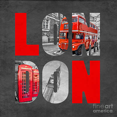 Travel Poster Digital Art - Souvenir Of London by Delphimages Photo Creations