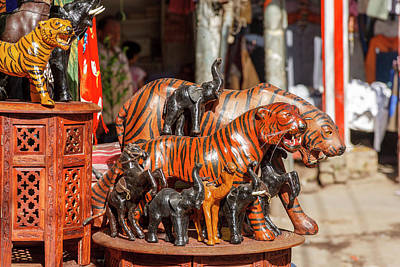 Handcrafted Photograph - Souvenir Tiger Sculptures, New Delhi by Ali Kabas