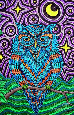Drawing - Mr. Owl  by Baruska A Michalcikova
