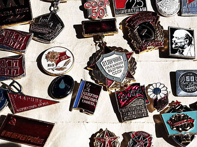 Photograph - Soviet Badges by Gina  Zhidov
