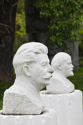 Soviet-era Sculptures Of Vladimir Lenin Art Print by Panoramic Images
