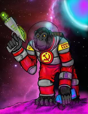 Soviet Space Chimp Art Print by Oliver Matuskey