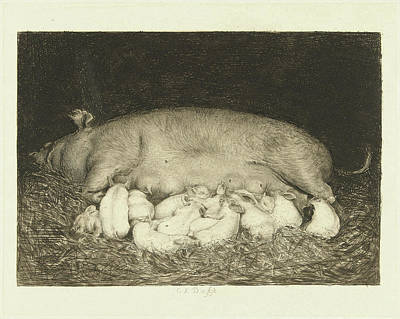 Sow With Piglets Lying In Stable, Carel Lodewijk Dake Art Print by Quint Lox
