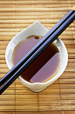 Bamboo Photograph - Soy Sauce With Chopsticks by Elena Elisseeva