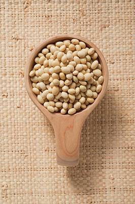 Soya Beans In A Small Wooden Bowl Art Print