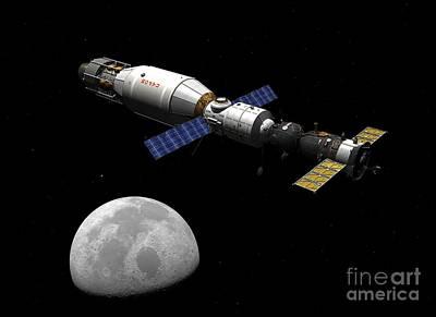 Soyuz Spacecraft At The Moon, Artwork Art Print