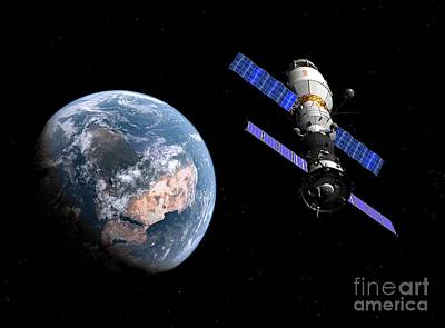 Soyuz Spacecraft Leaving Earth, Artwork Art Print